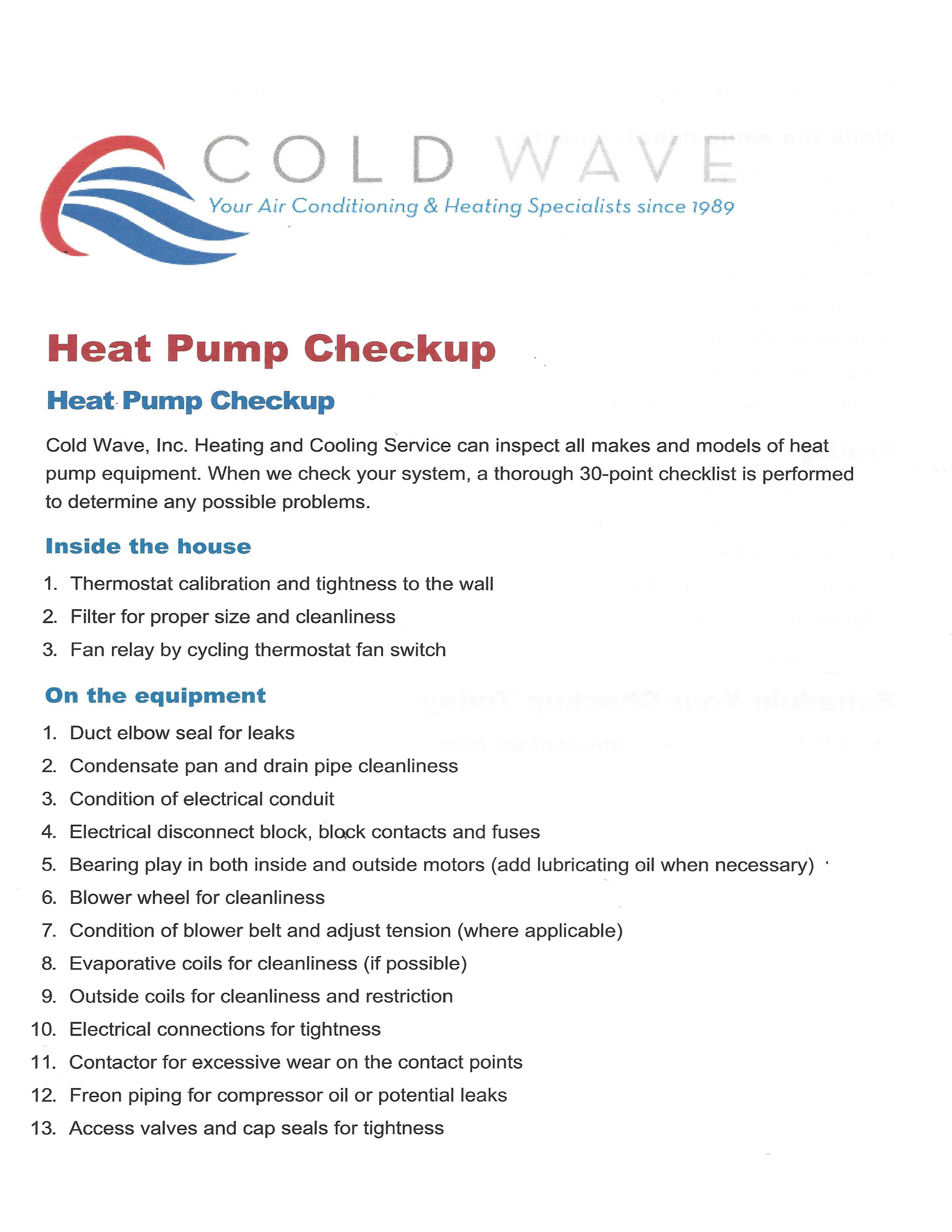 Heat Pump Checkup List_Page_1 – Coldwave